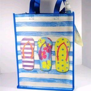 Handbags - NAUTICAL FLIP FLOPS SUMMER BEACH BAG TOTE BOTTLE